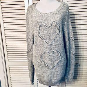Lauren Conrad | Gray Textured Heart Sweater
